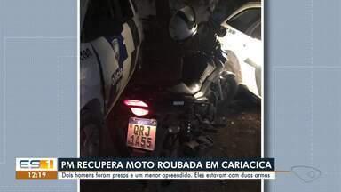 PM recupera moto roubada no ES - Dois homens foram presos e um adolescente foi apreendido. Eles estavam com duas armas.