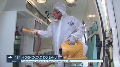 Ambulâncias do Samu reforçam higiene em pandemia - Pacientes com sintomas da Covid-19 representam 10% dos atendimentos do Samu.