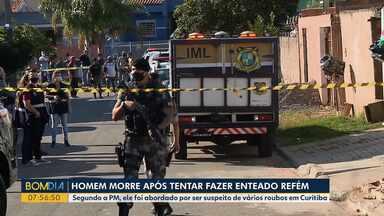 Homem morre após tentar fazer enteado refém - Segundo a PM, ele foi abordado por ser suspeito de vários roubos, em Curitiba.