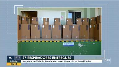 Hospitais do Vale do Itajaí e do Litoral Norte recebem 27 novos respiradores - Hospitais do Vale do Itajaí e do Litoral Norte recebem 27 novos respiradores