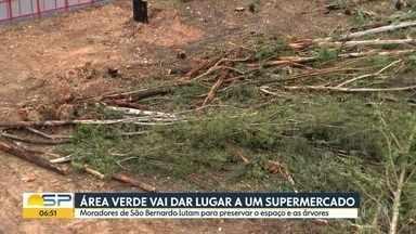 Moradores de SBC tentam impedir que área verde seja transformada em supermercado - Terreno pertence à Prefeitura, que prometeu fazer parque, mas vendeu terreno à iniciativa privada
