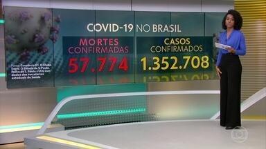 Brasil atinge 57.774 mortes e 1.352.708 casos confirmados, diz consórcio da imprensa - Mundo já tem mais de 500 mil vítimas e 10 milhões de infectados. País responde por 11% dos óbitos.