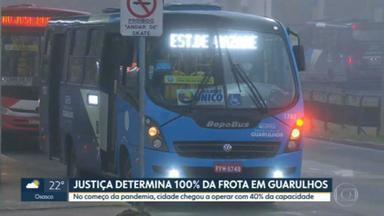 Justiça determina circulação de 100% da frota de ônibus em Guarulhos - No início da pandemia de Covid-19, como medida de prevenção, cidade chegou a ter apenas 40% dos ônibus circulando.