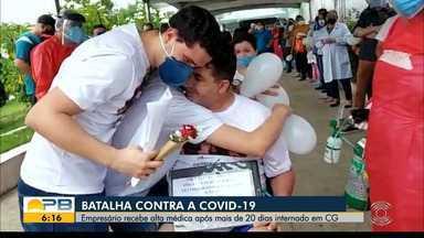 Empresário recebe alta após se recuperar da Covid-19, em Campina Grande - Ele passou 21 dias internado na UTI do Hospital de Trauma da cidade.