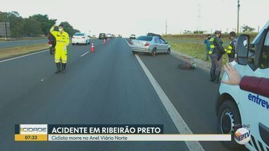 Ciclista morre no Anel viário norte em Ribeirão Preto, SP - Trecho da pista teve que ser interditado.