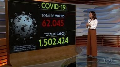 Brasil passa de 62 mil mortes e 1,5 milhão de casos, aponta consórcio - Levantamento é feito a partir de dados das secretarias estaduais de Saúde.