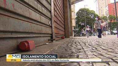 Adesão ao isolamento social está abaixo de 50% em BH - No início da pandemia, após o fechamento do comércio não essencial, taxa chegou a quase 60%.