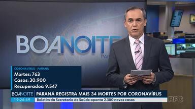 Paraná registra mais 34 mortes por coronavírus - Boletim da Secretaria de Saúde aponta 2.380 novos casos
