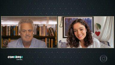 Programa de 06/07/2020 - Pedro Bial conversa com Sophie Charlotte sobre o processo de construção de seus futuros personagens e também bate um papo com o marido da atriz, Daniel Oliveira .