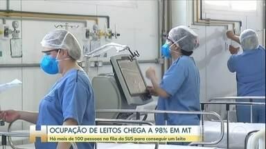 Taxa de ocupação das UTIs chega a 98% em Mato Grosso - O governo do estado informou que 29 leitos de UTI foram inaugurados no último fim de semana, mas desses, apenas cinco estão disponíveis agora.