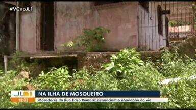 Moradores da rua Érico Romariz, em Mosqueiro, denunciam abandono da via - Moradores da rua Érico Romariz, em Mosqueiro, denunciam abandono da via