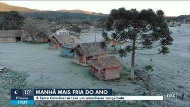 Amanhecer de quarta registra temperaturas negativas na Serra Catarinense - Amanhecer de quarta registra temperaturas negativas na Serra Catarinense