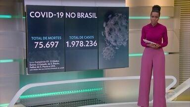 Brasil se aproxima da marca de dois milhões de casos confirmados de Covid-19 - Segundo o levantamento do consórcio dos veículos de imprensa, o país já perdeu 75.697 vidas por causa da doença. O número exato de brasileiros infectados chegou a 1.978.236.