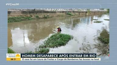 Bombeiros retomam buscas por homem que sumiu após mergulhar em rio em Lauro de Freitas - O homem vive em situação de rua e tentou atravessar o rio que corta a cidade, mas foi levado pela correnteza.