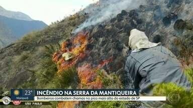 Bombeiros combatem fogo no pico mais alto do estado de SP - Chamas se espalharam por área de mata da Serra da Mantiqueira, na divisa com Minas Gerais.