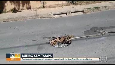 Moradores enviam reclamações e denúncias para o MG1 - Tem problema com esgoto, em Ribeirão das Neves e bueiro da rede pluvial sem tampa, em Betim.