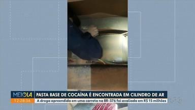Pasta base de cocaína é encontrada em cilindro de ar - A droga apreendida em uma carreta na BR-376 foi avaliada em R$ 15 milhões