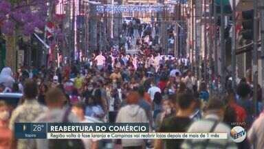 Estado confirma regional de Campinas na fase laranja do plano de retomada dos serviços - Região volta à fase laranja e Campinas vai reabrir lojas depois de mais de um mês.
