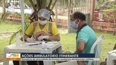 Moradores da comunidade do Irurama recebem ações do ambulatório itinerante em Santarém - Somente na manhã deste sábado (25) mais de 50 pessoas foram atendidas. Serviços continuam até às 17h.