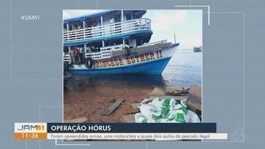 No interior do AM, operação apreende armas, motocicleta e pescado ilegal - Ação foi realizada no rio Solimões e na AM 070;