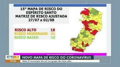 Cinco municípios do Sul do ES entram para o grupo de risco alto para a Covid-19 - Confira na reportagem.