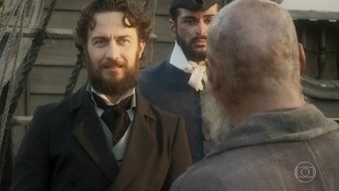 Thomas coloca Fred em um navio - O oficial entrega veneno a uma guarda e pede que coloque na comida de Fred