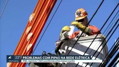 Número de ocorrência de pipas na rede elétrica aumenta mais de 200% na grande São Paulo - A Enel registrou 1.560 ocorrências entre março e junho.
