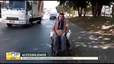 Pedestres enfrentam dificuldades nas calçadas no DF - Cadeirantes, deficientes visuais e pessoas com mobilidade reduzida precisam se locomover sem qualquer acessibilidade. Em alguns locais, a nossa equipe também encontrou bons exemplos.