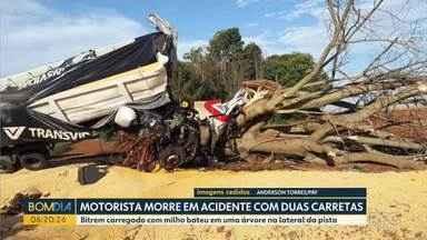 Motorista morre em acidente entre duas carretas - Bitrem carregado com milho bateu em uma árvore na lateral da pista.