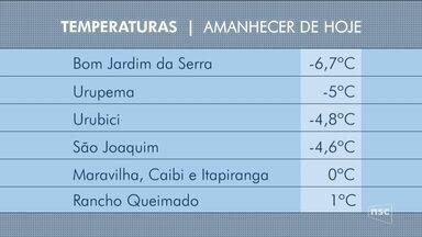 Serra catarinense amanhece com temperaturas negativas nesta quinta-feira - Serra catarinense amanhece com temperaturas negativas nesta quinta-feira