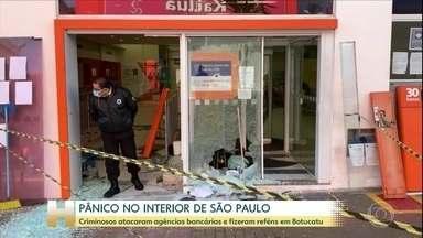 Terror em Botucatu: bandidos atacam agências bancárias e trocam tiros com a PM - Dezenas de criminosos participaram dos ataques. Moradores foram feitos reféns; dois policiais ficaram feridos e um suspeito morreu.