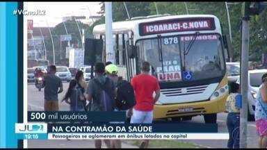 Na contramão de recomendações médicas, ônibus circulam lotados em Belém - Evitar aglomerações é praticamente impossível para os passageiros.