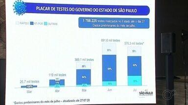 Governo de SP diz que estado aumentou poder de testagem para coronavírus - O governo do São Paulo anunciou nesta quinta-feira (30) que houve aumento nas testagens para coronavírus: passou de 900 testes diários desde março para mais de 20 mil neste mês.