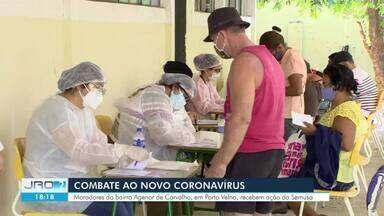 Ação de combate a Covid-19 é realizada no bairro Agenor de Carvalho - Ação foi realizada pela Secretaria Municipal de Saúde