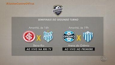 Dois jogos definem a Semifinal do segundo turno do Gauchão 2020 - RBS TV transmite Inter x Esportivo, às 16h.