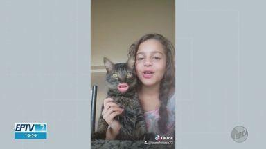 EPTV2 de 3 de agosto mostra o que o público faz em casa enquanto respeita o isolamento - Caras e bocas com o gato, recado do Davi para a professora, a Shakira no rolê...