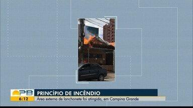 Princípio de incêndio é registrado em lanchonete de Campina Grande - Chamas foram contidas.