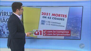 Região de Campinas tem 63.357 casos confirmados de coronavírus - O número de mortes chegou a 2.031 em 43 cidades atingidas pela Covid-19.
