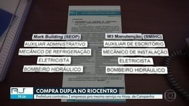 Prefeitura contrata duas empresas para o mesmo serviço em hospital de campanha - A prefeitura do Rio contratou duas empresas por mais de R$ 30 milhões para fazer os mesmos serviços de manutenção no hospital de campanha do Riocentro. Quem diz isso é a controladoria-geral da própria prefeitura.