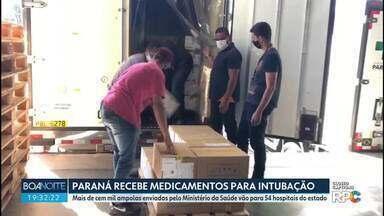 Paraná recebe mais de 100 mil ampolas de medicamento para intubação de pacientes com Covid - Os medicamentos foram enviados pelo Ministério da Saúde e vão para 54 hospitais do estado.