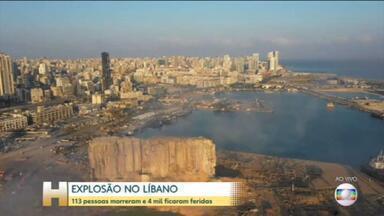 Equipes buscam por sobreviventes de explosão que deixou mais de 100 mortos e 4 mil feridos - Suspeita é que a explosão aconteceu em um depósito de nitrato de amônio, um tipo de fertilizante, na zona portuária de Beirute.