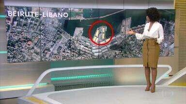 Veja a região portuária de Beirute antes e depois da explosão - Imagens de satélite mostram como era o porto da capital libanesa antes da explosão desta terça-feira (4).