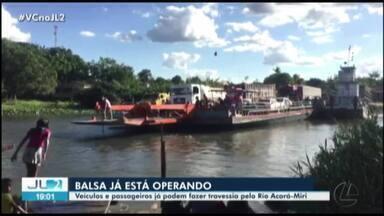 Balsa começa a operar travessia de veículos e passageiros no rio Acará-Miri - A cabeceira de uma ponte desabou na PA-451, em Tomé-Açú.
