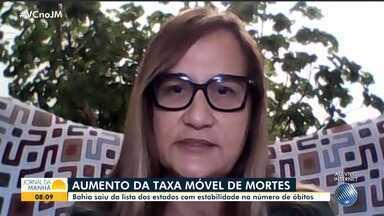 Subsecretária de saúde fala sobre o aumento da taxa móvel de óbitos causados pela Covid-19 - Confira a entrevista com Tereza Paim, que detalha os dados estatísticos da pandemia em todo o estado.