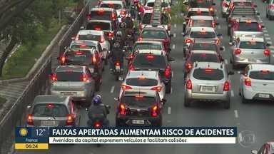 Faixas apertadas aumentam o risco de acidentes - Avenidas da capital espremem veículos e facilitam colisões.