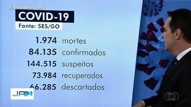 Coronavírus: Goiás registra 50 mortes e 2.859 casos confirmados em um dia, segundo governo - Ao total, o estado tem 83.274 infectados e 1.974 mortes confirmadas pela Secretaria Estadual de Saúde. Apenas oito municípios, dos 246, não têm caso confirmado da doença.
