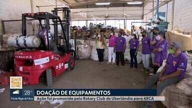 Rotary doa equipamentos para catadores e recicladores autônomos de Uberlândia - Com a chegada das máquinas e recicladores, a Associação de Recicladores e Catadores Autônomos (Arca) em Uberlândia vai ampliar produção.