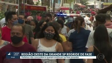 Plano São Paulo rebaixa cidades da região oeste - Prefeitos não concordam e querem continuar na fase amarela.