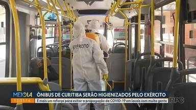 Ônibus de Curitiba serão higienizados pelo Exército - É mais um reforço para evitar a propagação da Covid-19 em locais com muita gente.