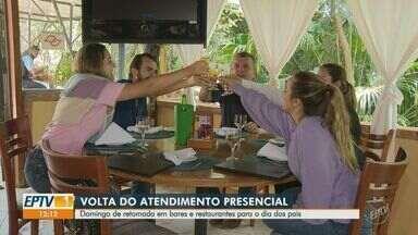 Veja como foi o domingo de Dia dos Pais com bares e restaurantes abertos em Campinas - A retomada das atividades aconteceu no sábado (8) por conta do avanço da cidade para a fase amarela no Plano SP de flexibilização.